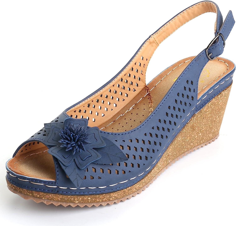 Alexis Leroy Adjustable Buckle Peep Toe Vamp Women's Platform Wedge Sandals