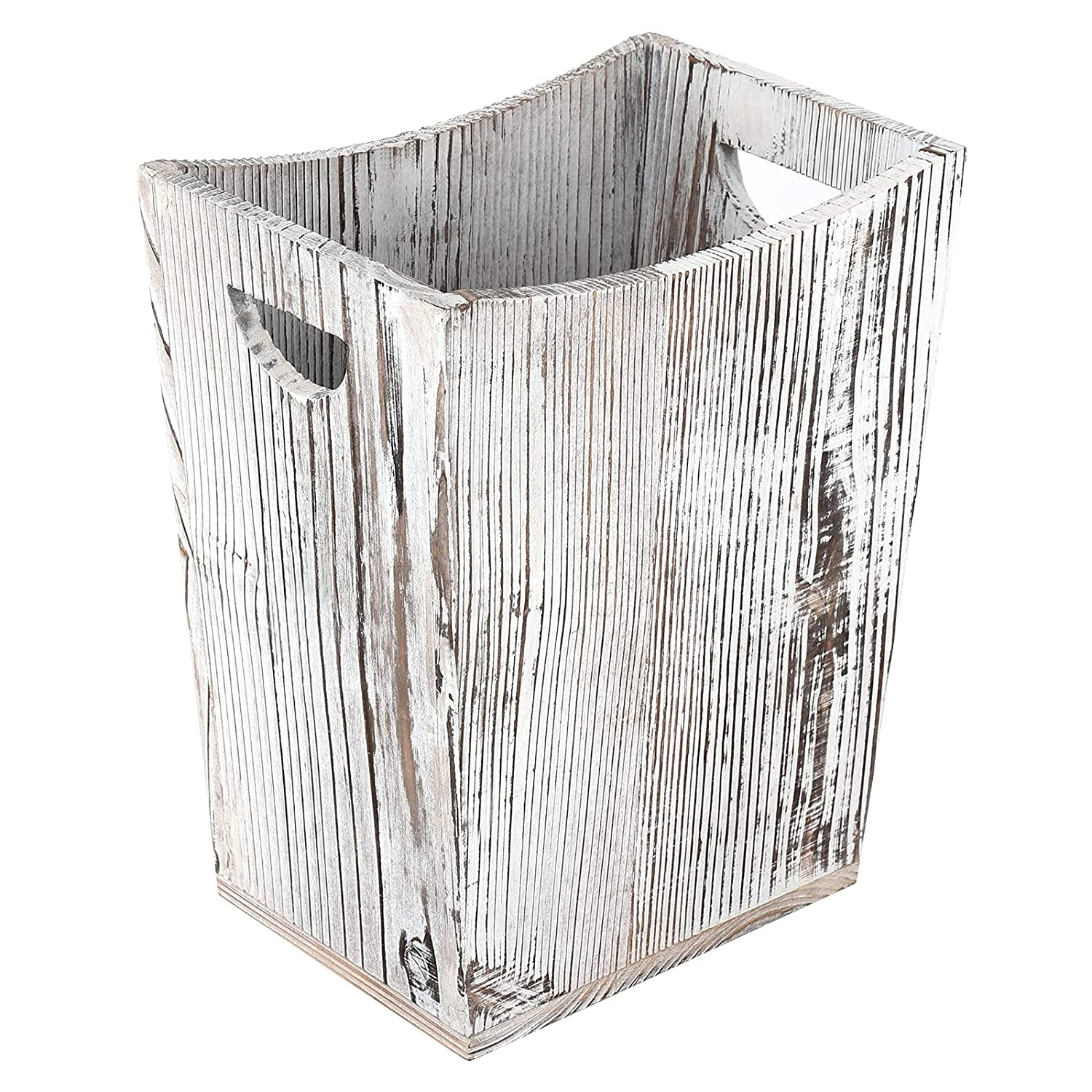 Wood Trash Can with Double Max 56% OFF Rectangular R Farmhouse Handles Small free