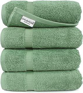 SALBAKOS Luxury Bath Towels -4-Piece Large Green Bathroom Hotel Towel Set, Softest 700 GSM Genuine Turkish Cotton Eco-Friendly Bath Towel Set, 27x54 Inches