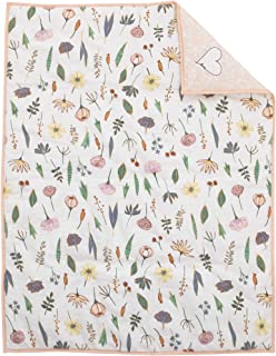 ED Ellen DeGeneres Painterly Floral - 100% Cotton Pink, White, Multi Floral Nursery Crib Comforter, Pink, White, Green, Blue