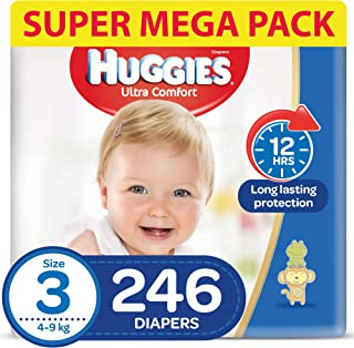 HUGGIES Ultra Comfort Diapers, Size 3, Jumbo Pack, 4-9 kg, 246 Diapers