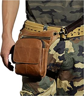 Le'aokuu Mens Genuine Leather Multi-Purpose Racing Drop Leg Bag Motorcycle Outdoor Bike Cycling Waist Bag (Light Brown)