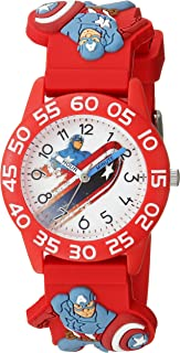 MARVEL Boys' Captain America Analog-Quartz Watch with Plastic Strap, red, 16 (Model: WMA000038)