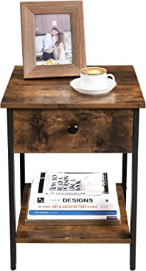 VASAGLE Nightstand, End Table, Side Table with Drawer and Shelf, Bedroom, Easy Assembly, Steel, Industrial Design, Rustic Bro