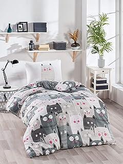 OZINCI - Juego de ropa de cama con diseño de gatos para cama individual o doble, 1 funda de edredón y 1 funda de almohada,...