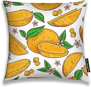 YILINGER Decorative Throw Pillow Cover Mango Tropical Fruit Leaves Flower Cube Color Sketch Decor Pillow Case 26