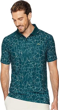 Sport Novak Djokovic Short Sleeve Ultra Dry Polo W/ All Over Net Print & Ergnomic Back