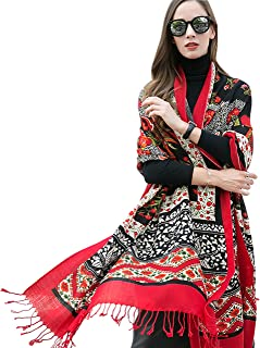DANA XU Pure Wool Women Scarf Large Size Ponchos Pashmina Shawls and Wraps