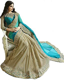 Esomic Women's Georgette Saree With Blouse Piece