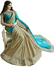 Fabrizo Women's Embroidered Work Saree With Blouse Piece (firoji) new