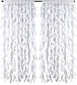spring Home Waterfall Shabby Chic Ruffled Fabric Window Curtain (White)