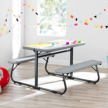 Innovative and Sturdy Your Zone Folding Kid's Activity Table with Two Benches,Soft Silver,Perfect for Homework,Arts and G