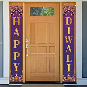 Jiudungs Diwali Decoration Outdoor Indoor Happy Diwali Porch Sign Banner Indian Dlwali Festival of Lights Decor and Supplies for Home
