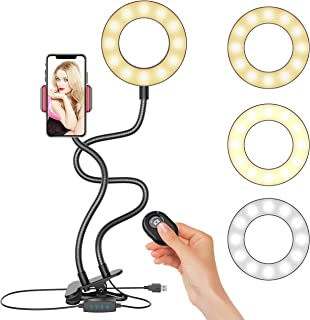 Selfie Ring Light, Upgraded Ring Light with Wireless Remote and Cell Phone Holder Stand for Live Stream/Makeup, LED Camera Light 3 Light Modes 10-Level Brightness 360° Rotating for iPhone and Android