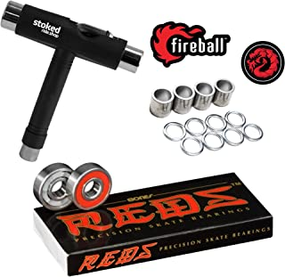 Bones Reds Bearings for [Skateboards, Longboards, Scooters, Spinners] (8 Pack (w/Dragon Spacers, Washers & Stoked Tool))