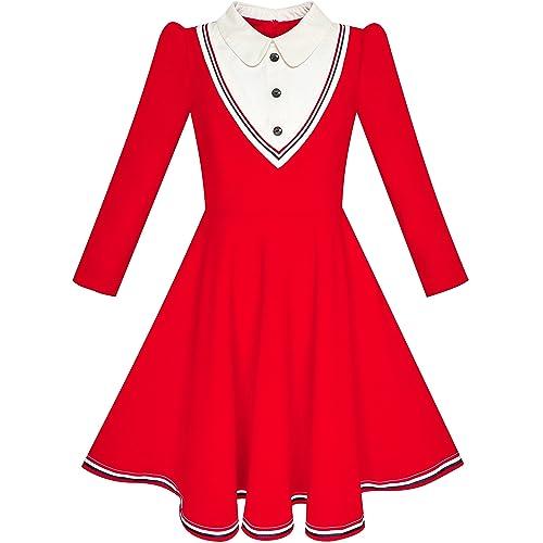 e5a2eb308bf69 Sunny Fashion Robe Fille Uniforme Scolaire Blanc Collier Manche Longue Rayé  4-12 Ans