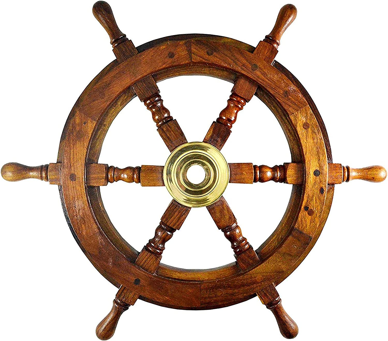 Nautical Specials Nautical Sheesham Wood Ship Wheel with Brass Center Home Decoration Gifts (12
