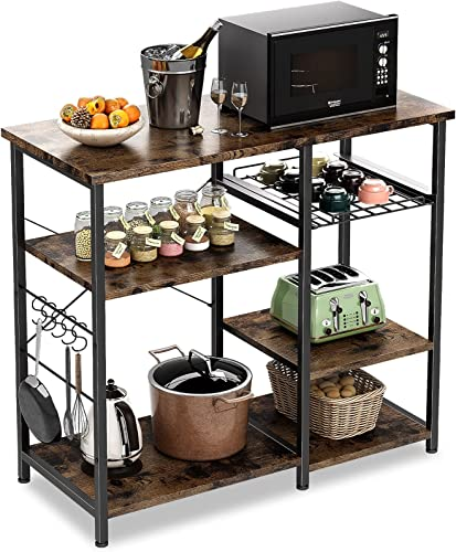 popular ODK Kitchen Bakers Rack, Utility Storage Shelf Microwave Oven Stand, 3-Tier+3-Tier Coffee Bar Table with 10 S-Shape Hooks for Spice Rack high quality Organizer Workstation, for Mothers Day Gifts, Rustic outlet online sale Brown online