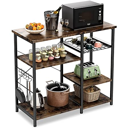 ODK Kitchen Bakers Rack, Utility Storage Shelf Microwave Oven Stand, 3-Tier+3-Tier Coffee Bar Table with 10 S-Shape Hooks for Spice Rack Organizer Workstation, for Mothers Day Gifts, Rustic Brown