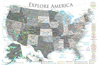 GeoJango National Parks Map Poster with USA Travel Destinations - Black & White Edition (24W x 16H inches)