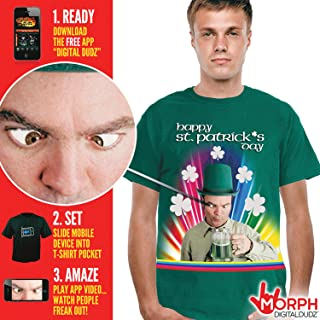 MorphCostumes Digital Dudz Cross-Eyed Drinking St. Patricks Day Shirt Digital T-Shirt (Small, White)