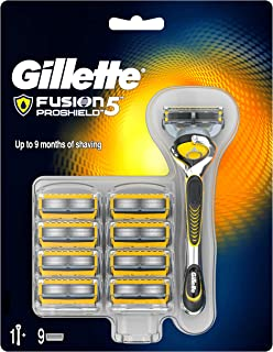 Gillette Fusion5 ProShield Razor for Men, 9 Blade Refill with 5 Anti-Friction Blades with Lubrication Before and After The Blades