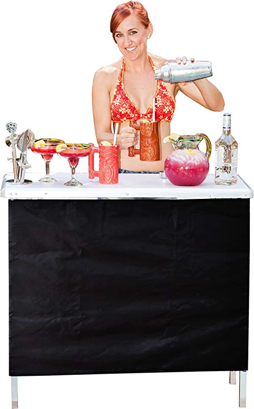 GoPong Portable High Top Party Bar Table With Shelf 15L X 39W X 36H Includes 3 Front Skirts And Carrying Case