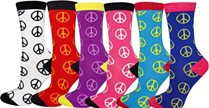 Women's Novelty Crew Cut Socks Fun Design Fashionable Multi-Color Value Pack of 3, 4, 5 and 6
