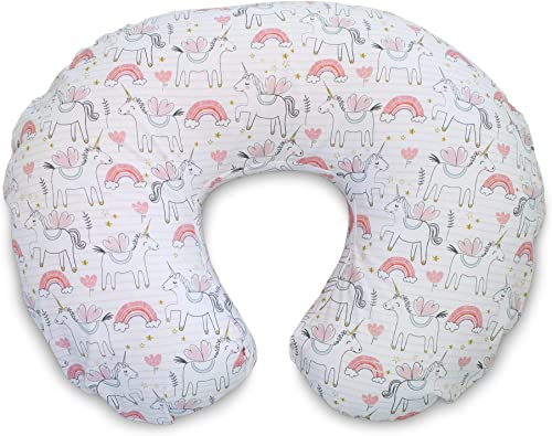 Boppy Original Nursing Pillow Cover, Pink Unicorns, Cotton Blend Fabric with Allover Fashion, Fits All Boppy Nursing ...