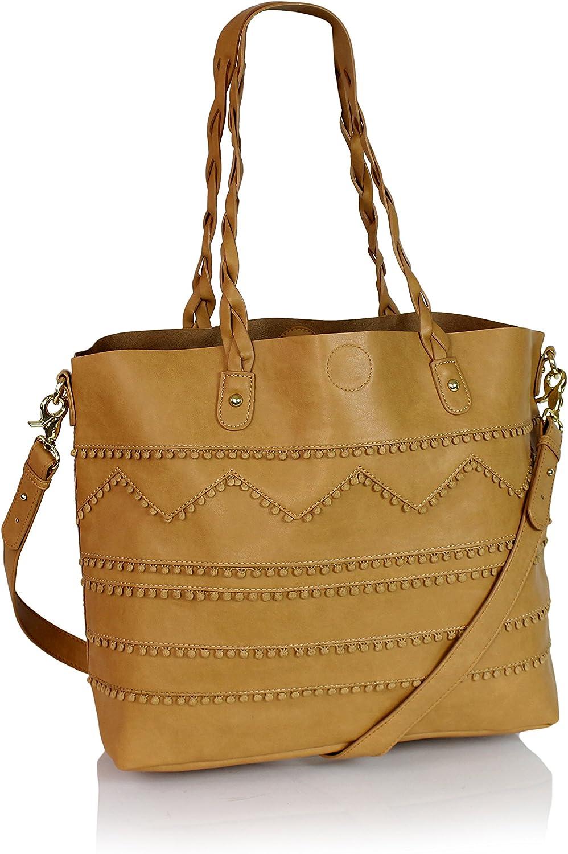 Boho Artisan Vegan Leather Tote Large Shoulder Bag School Messenger Top Handle Purse w Pom Tassel