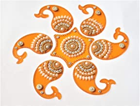 Acrylic Rangoli Mango Shape Reusable for Floor and Wall Decoration for Diwali and Puja Functions(Set of 7 Pieces) (Orange)