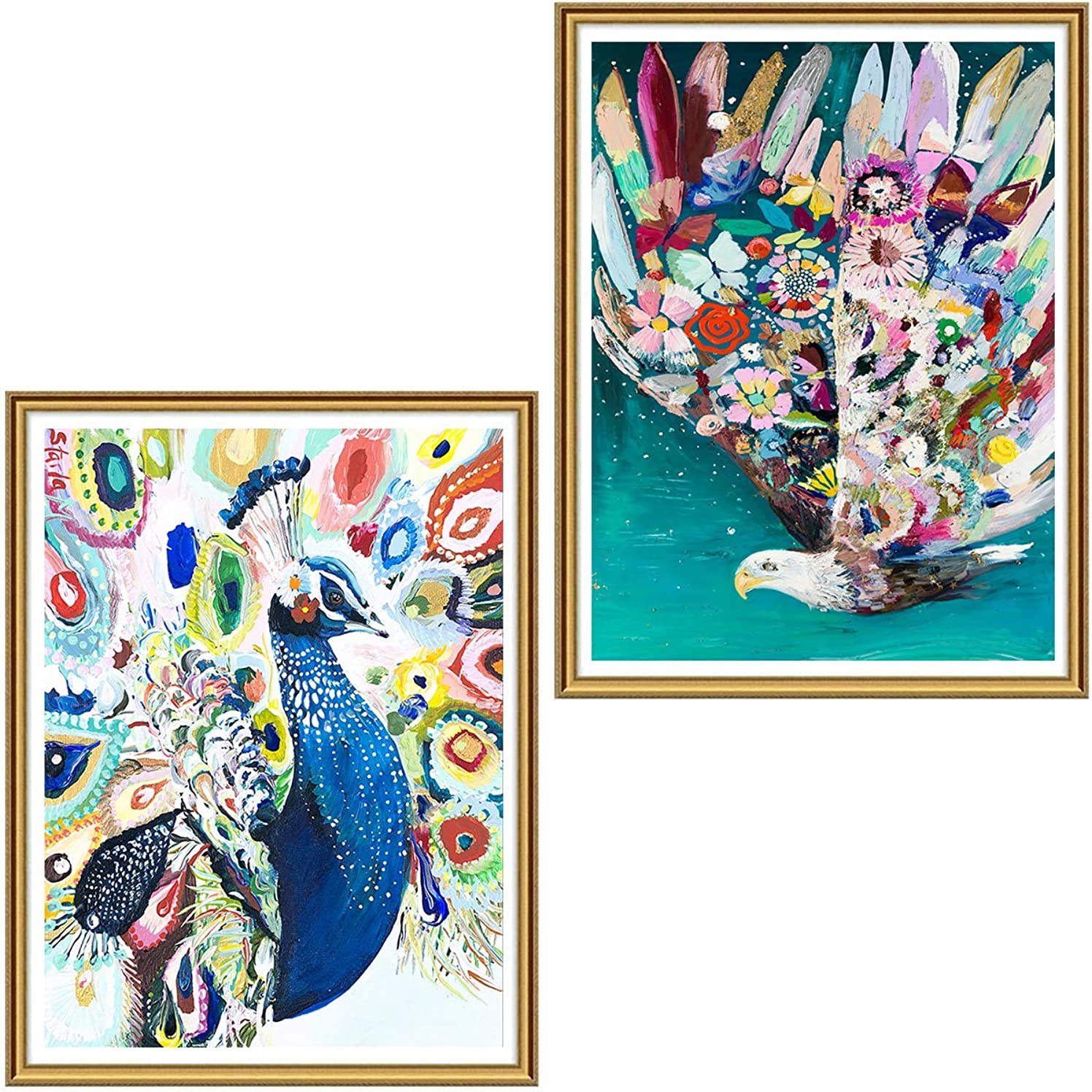 5D DIY Diamond Painting Art Peacock and Eagle for Adults Full Drill by Number Kits, Ginfonr 2 Pack Animal Paint with Diamonds Craft Embroidery Rhinestone Cross Stitch Wall Decor (12 x 16 inch)