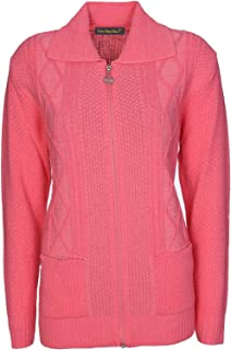 28343b00f70b Lets Shop Shop Womens Zipped Cable Knit Long Sleeve Zip Through Fasten  Jumper Top Ladies Classic