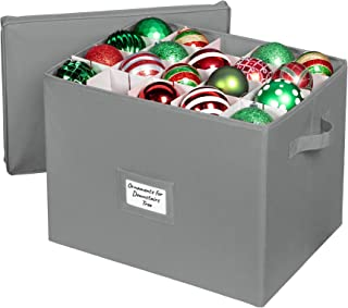 Christmas Ornament Storage Container with Dividers - Large Box Stores Up to 80-3