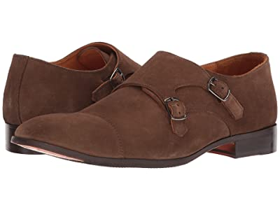 CARLOS by Carlos Santana Passion Double Monk Strap (Honey Brown Calfskin Suede) Men
