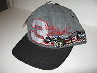 Dale Earnhardt Sr #3 Two Tone Black Grey Gray Goodwrench Service Car Image On Brow Hat Cap One Size Fits Most OSFM Chase Authentics