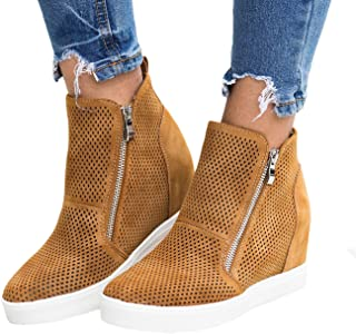 Chellysun Womens High Top Wedge Sneakers Platform Zipper Flat Faux Leather Ankle Booties