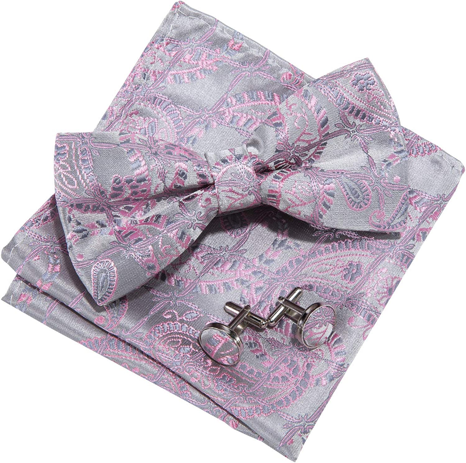 Barry.Wang Men Pre-tied Bow Tie Set with Pocket Square Cufflink Paisley Silk Bowtie Suit Tuxedo