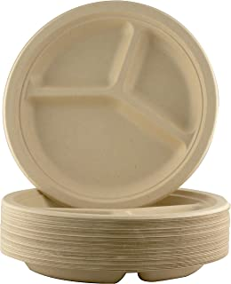 Restaurant-Grade, Biodegradable 10 Inch 3-Compartment Plates. Bulk 100 Pk. Great for Lunch and Dinner Parties. Disposable, Compostable Wheatstraw Divided Plates are Leakproof and Microwave Safe.