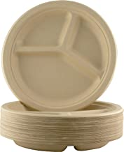 Restaurant-Grade, Biodegradable 10 Inch 3-Compartment Plates. Bulk 25 Pk. Great for Lunch and Dinner Parties. Disposable, Compostable Wheatstraw Divided Plates are Leakproof and Microwave Safe.