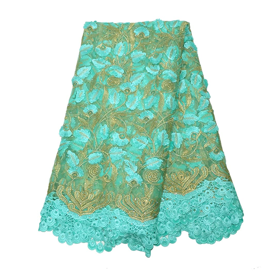 Aisunne African Lace Fabrics 5 Yards Nigerian French Lace Fabric 3D Leaves with Fashion Embroidered Flower for Wedding Party Dresses (Green)