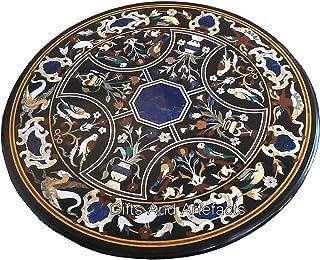 Gifts And Artefacts Table de salle à manger faite à la main en forme ronde Noir avec meubles de jardin Pietra Dura Art de ...