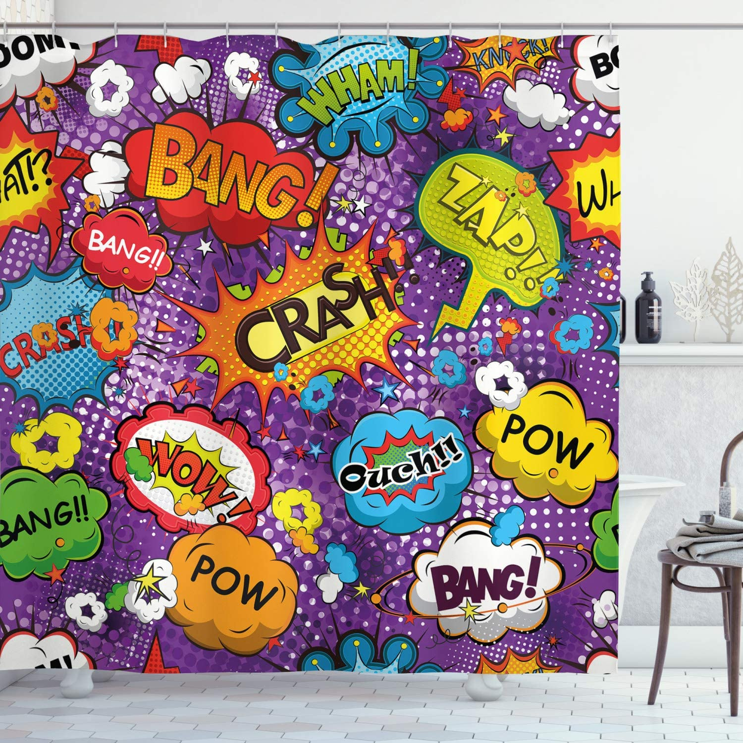 Max Max 52% OFF 89% OFF Ambesonne Retro Shower Curtain Comic Style Bubbles Book Speech