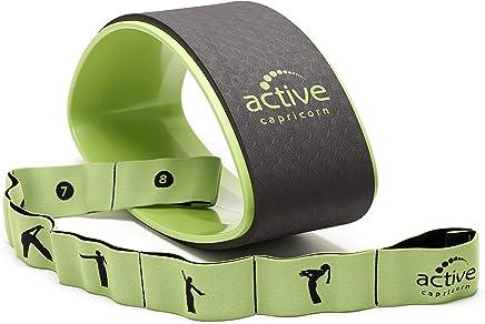 Set de Yoga avec Roue de Yoga et Bande de résistance, Vert, avec Instruction - Kit de Yoga avec Roue Solide et Bande élastique pour ralentir, entraînement du Corps Entier pour débutants et avancés
