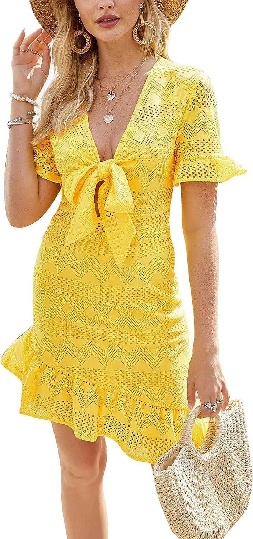 Women's Sexy Deep V Neck Dress-Bodycon Wrap Dress-Vintage A-Line