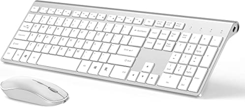 Wireless Keyboard and Mouse Combo-J JOYACCESS Rechargeable Wireless Keyboard Mouse Ergonomic,Slim,2.4GHz Stable Connection,Silent for PC,Computer Desktop and Laptop-White+Silver
