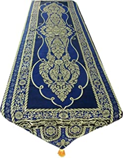 Blue Orchid Elegant Thai Table Runner with Tassels Embroidered Bed Scarf Floral Vine Pattern 76