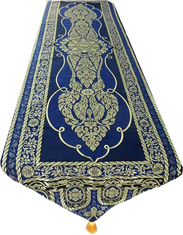 Blue Orchid Elegant Thai Table Runner With Tassels Embroidered Bed Scarf Floral Vine Pattern 76 X 19