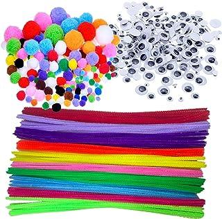 Wartoon - pompones y bastoncillos de chenilla, ojos artificiales, adhesivos y móviles, adornos para manualidades, 500 unid...