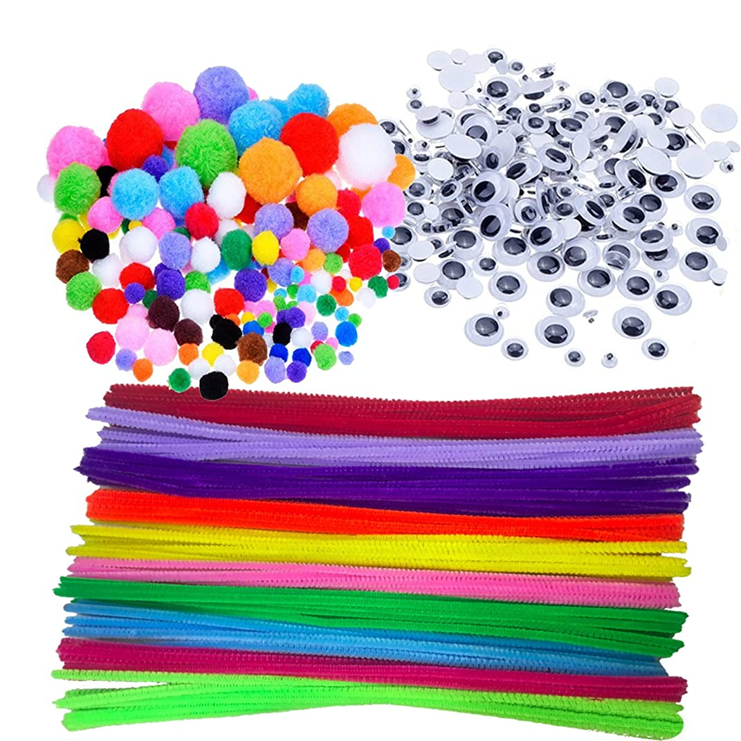 Pipe Cleaners Crafts Set, Wartoon Pipe Cleaners Chenille Stem and Pompoms with Googly Wiggle Eyes for Craft DIY Art Supplies, 500 Pieces